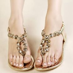 Gold Boho Fashionable Flat Beach Wedding Bridal Party Evening Sandals Shoes  SKU-1090216