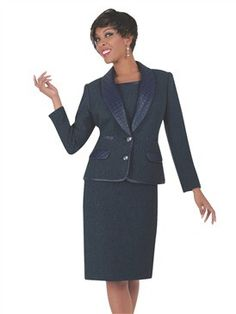 Ben Marc Executive Quilted Shawl Collar 2pc Dress