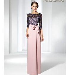 Long Godmother dress, lace and crepe with illusion neckline Mother Of Groom Dresses, Mothers Dresses, Mother Of The Bride, Mom Dress, Dress Up, Dress Lace, Gala Dresses, Formal Dresses, Bridesmaid Dresses