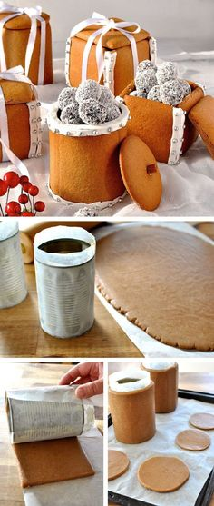 Gingerbread Box & Mason Jars – 20 Festive DIY Ways to Serve Food for Christmas! … Gingerbread Box & Mason Jars – 20 Festive DIY Ways to Serve Food for Christmas! Edible Christmas Gifts, Edible Gifts, Christmas Sweets, Christmas Cooking, Christmas Goodies, Homemade Christmas, Diy Christmas, Christmas Pudding, Christmas Cakes