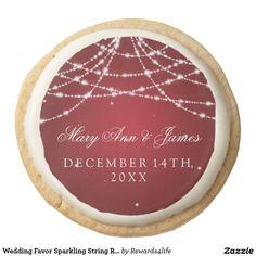 Wedding Favor Sparkling String Red Round Shortbread Cookie
