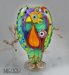 Crazy Chicken  Lampwork focal bead by Michou P by michoudesign, $139.00