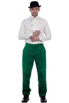 Steampunk Victorian Costume Architect Mens 100 Cotton Pants Trousers Green Small ** Click image to review more details.