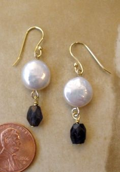 Iolite and Coin Pearl Earrings in GF by thebigbluebead on Etsy