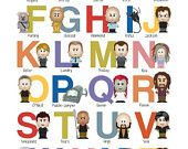 Sci-Fi Alphabet Nursery Art - A to Z - 8x10 Inch Alphabet Poster - Geek-a-bye Baby - Sci-Fi Geek - ABCs. $15.00, via Etsy.