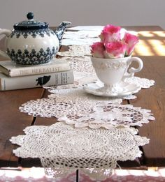 Table runner made from old doilies