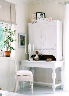 love this writing desk - home made - cupboard on top of table, all painted white!