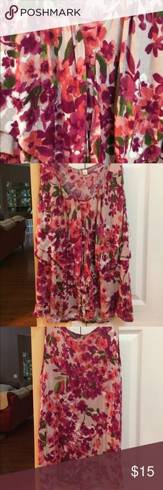 Lauren Conrad floral, rayon cami. XL Like new con Lauren Conrad gorgeous floral rayon cami. XL. Very soft and comfy! Armpit/bust measures about 21 in, length is about 28 inches. Lauren Conrad Tops Camisoles