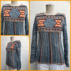 Vintage 70s Aztec Knit Pullover Sweater Hippie Geometric Knit Pullover Sweater    eBay