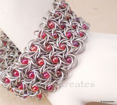 "So proud to see my beaded Moorish Rose cuff among the group of ""Epic Chainmaille""!!  Each and every piece in the group takes hours, if not days and months, to complete!  Be sure to check thru all the pieces in the blog post, such feast for the eyes! ♥"