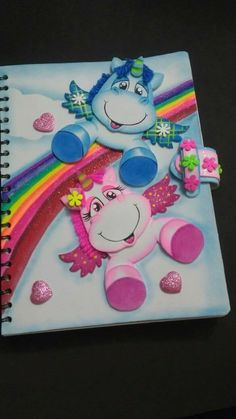 Foami cuadernos Kids Crafts, Foam Crafts, Diy And Crafts, Paper Crafts, Unicorn Birthday Parties, Birthday Cards, Kids Punch, Decorate Notebook, Notebook Design