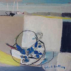 'Cuppa by the coast', 30x30cm, acrylic on board by John Button