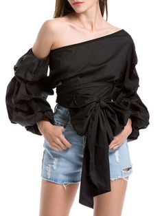 Shop Blouses - Asymmetrical Balloon Sleeve One Shoulder Casual Blouse online. Discover unique designers fashion at StyleWe.com.
