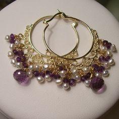 Amethyst and Pearl Vermeil Chandelier Hoop Earrings
