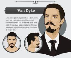 """Van Dyke O estilo combina uma barba curta e """"pontuda"""" com um bigode também """"afiado"""". Outro estilo que pede uma manutenção constante, tanto de giletar algumas áreas quanto com a estilização do bigode. Se feito corretamente, o resultado é uma barba bastante artística com visual único. Van Dyke Beard, Beards And Mustaches, Moustaches, Handlebar Mustache, Beard No Mustache, Beard Boy, Mens Facial, Facial Hair, Face Shape Hairstyles"""
