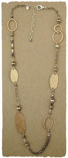 "Oxidized sterling bead and 14kt goldfill textured element 21"" necklace. http://www.jandijewelry.com/"