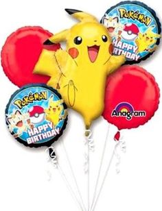 Pokemon Birthday Balloon Bouquet Includes 1 Giant Pikachuu Themed Tall X Wide Foil 2 Theme Circle Balloons Red Please