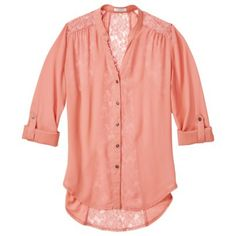 Xhilaration® Junior's Lace Detail Button Down Shirt top coral lilly or that mint color  lace back, button sleeves  $23 target