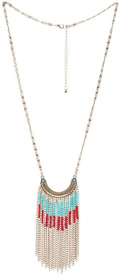 ROMWE Beaded Gold Chain Pendant Necklace