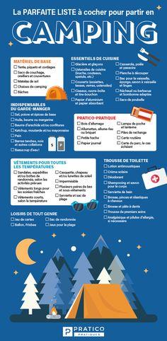 La parfaite liste à cocher pour partir en camping sans rien oublier ! - 5 ingredients 15 minutes Parfait, Camping, List, Tips And Tricks, Tableware, Organisation, Campsite, Outdoor Camping, Campers