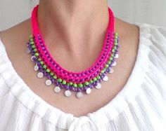neon jewelrymulticolor necklacestatement by HANDMADETHIS on Etsy Neon Jewelry, Hippie Jewelry, Beaded Jewelry, Handmade Necklaces, Handmade Jewelry, Unique Jewelry, Handmade Gifts, Boho Necklace, Crochet Necklace