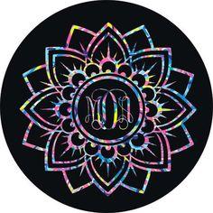Mandala Flower Monogram by ArchandJillGraphics on Etsy Custom Tire Covers, Spare Tire Covers, Jeep Tire Cover, Jeep Cars, Flower Mandala, Beetle, Volkswagen, Initials, Monogram