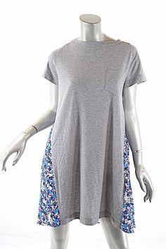 34fa744e7d6 SACAI LUCK Purple   Blue Contrast Floral Print Gray T-Shirt Dress Sz L NWT   225