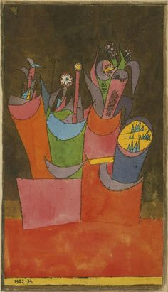 """Flowers in Pots,"" 1923, Paul Klee. Watercolor over lithograph on cream wove paper; 9⅝ x 5¼ in. (24.4 x 13.3 cm) Philadelphia Museum of Art."