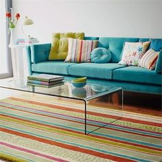 Whimsical living room featuring a vibrant striped rug by Sanderson for Surya! Beautiful Living Rooms, Living Room Modern, Living Room Interior, Home Living Room, Living Room Decor, Living Spaces, Coastal Living, Living Room Colors, Home Rugs