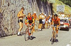 Peter Winnen riding for T.I. Raleigh on his way to winning the stage to L'alpe d'Huez in the 1983 Tour de France.