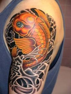 Koi Fish Tattoo ... colored fish on shaded asian water