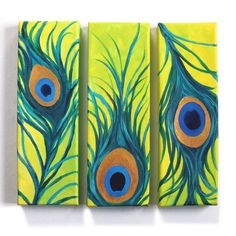 Whimsical art for home and office  3 PEACOCK FEATHERS  Set of three 4x12 canvases   by nJoy Art, via Etsy.
