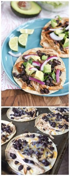 Slow Cooker Salsa Verde Pork Tostadas from Aggie's Kitchen are perfect for a school-night dinner!  [Featured on SlowCookerFromScratch.com]:
