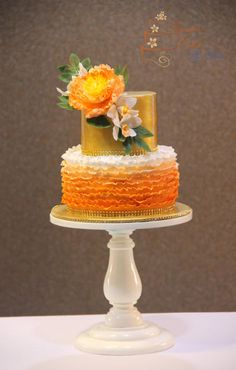 Ruffles and gold  by Signature Cake By Shweta - http://cakesdecor.com/cakes/258350-ruffles-and-gold