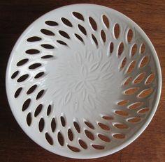 Carved Pottery Leaves Bowl - SNOW WHITE - handmade pottery via Etsy
