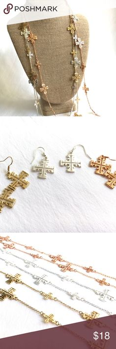 "Long Fancy Cross Chains **3/$30 DEAL! Bundle ANY 3 jewelry items in my boutique, make an offer of $30 and I will accept!**    Set of 3 long cross chains with matching earrings!    - Silver color, gold color, copper color metal  - Approximately 36"" with adjustable clasp  - Fish hook earwires - 3 for the price of 1!    Item # - POSH36 Isis Jewelry Necklaces"