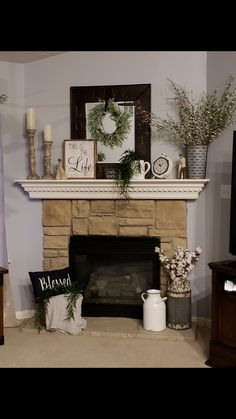 Decorating Mantle fireplace decor From Cluttered to Classy - A Rustic Glam Fireplace Makeover Christmas Fireplace Mantels, Home Fireplace, Fireplaces, Fireplace Design, Fireplace With Mirror, Empty Fireplace Ideas, Farmhouse Fireplace Mantels, My New Room, Home Living Room