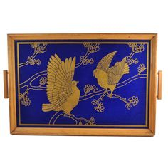 Reverse Painted Blue, Gold Doves Tray, The Hour Shop. Visit TheHourShop.com for more vintage serving pieces, barware, bar tools and cocktail glassware!