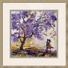"""#Love under the #Jacaranda #Tree Purple Blossoms"""" by #Ginette #Callaway #Impressionist #Oil #Painting."""
