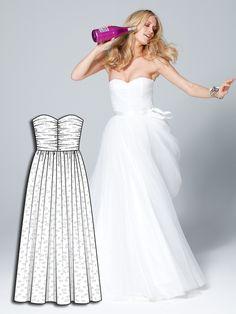 Strapless Tea Length Wedding Dress 32011 101A  Tea