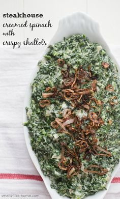 Steakhouse Creamed Spinach with Crispy Shallots