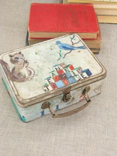 Vintage Folk Art Metal Hand Painted Lunch Box  by wilshepherd, $48.00