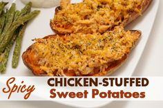Spicy Chicken Stuffed Sweet Potatoes- a great new way to enjoy Creswick Farms Boneless Chicken Breasts! Sweet Potato Recipes, Spicy Recipes, Chicken Recipes, Cooking Recipes, Healthy Recipes, Savoury Recipes, Healthy Meals, Healthy Cooking, Healthy Eating