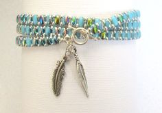 turquoise bead wrap bracelet superduo stackable by beadnurse