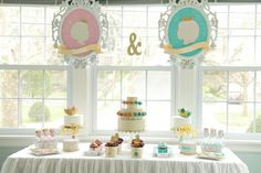 A gorgeous boy/girl birthday dessert table