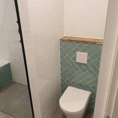 City half Tile seagreen zeegroen turquoise visgraat tegel x 30 cm is part of Bathroom - Wc Design, Toilet Design, Small Toilet Room, Small Bathroom, Bathroom Styling, Bathroom Interior Design, Ideas Baños, Modern Toilet, Bathroom Trends