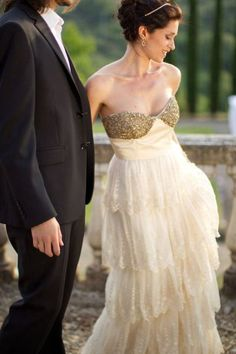 mike larson photographers - gold wedding dress