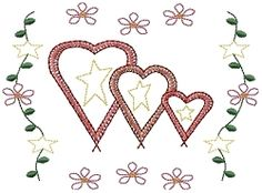 Triple Hearts Sampler 5x7 | Primitive | Machine Embroidery Designs | SWAKembroidery.com HeartStrings Embroidery