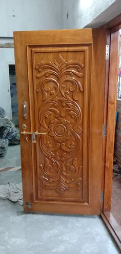 Door Design Photos, Home Door Design, Pooja Room Door Design, Door Gate Design, Door Design Interior, Single Door Design, Wooden Front Door Design, Wooden Front Doors, Wood Door Frame