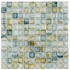Clear Glass Mosaic Tile Stained Antique Blue | Mineral Tiles